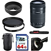 Canon EF-S 55-250mm f/4-5.6 IS STM Lens Bundle + UV Filter + Polarizer Filter + 2 In 1 Lens Cleaning Pen + High Speed 64GB Memory Card + Rubber Hood + Deluxe Lens Case
