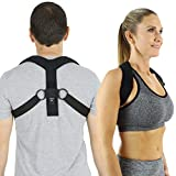 Vive Posture Corrector Brace - Back, Upper Neck, Shoulder Support - Men and Women Under Clothes Hunchback Straightener Device Improves Bad Slouch Hump, Forward Head Slouching Alignment (Small)