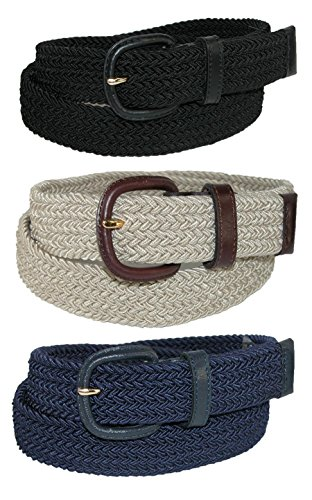Aquarius Men's Stretch Belt with Covered Buckle (Big & Tall Available) (Pack of 3), 38/40, Black/Khaki/Navy