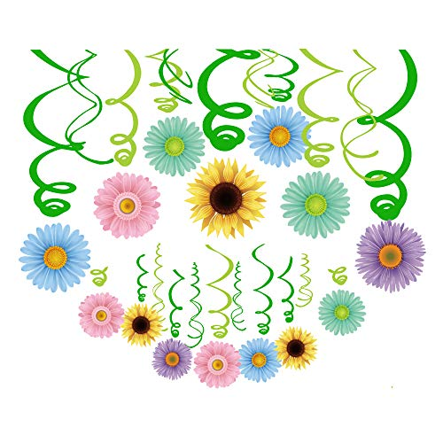 CC HOME Spring Summer Sunflower Party Decoration,30CT Summer Spring Daisy Flower Hanging Swirl Decorations ,Party Favor for Home,Classroom, Ceiling Wall Decor ,Girl,Boys Baby Shower,Birthday Party ,Summer Party,Luau Decoration Supplies,Multicolor -