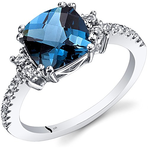 Peora 14K White Gold London Blue Topaz Ring Cushion Checkerboard Cut 2.50 Carats Size 6