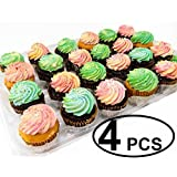 Katgely Cupcake Boxes Cupcake Containers 24 Pack Cupcake, Set of 4