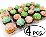 Katgely 24 Cupcakes Plastic Cupcake Boxes Cupcake Containers (Pack of 4)