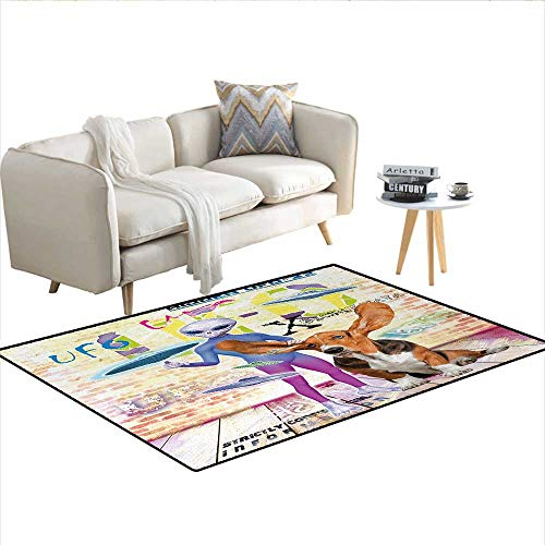 - Carpet,Alien and Cute Dog with Giant Ears Vivid UFO Stylized Writing Grungy Brick Wall,Indoor Outdoor Rug,MulticolorSize:48