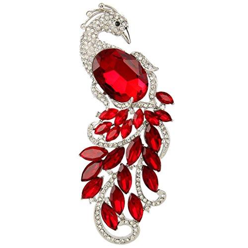 Ruby Silver Brooch (EVER FAITH Silver-Tone Austrian Crystal Peacock Brooch Red)