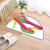 Semi-Circular Living Room Rug Pink Green Yellow high Heels Open Toe Pump Shoes Bath Mat Shower Rug Bedroom Carpet Floor Mats W24 x H16 INCH