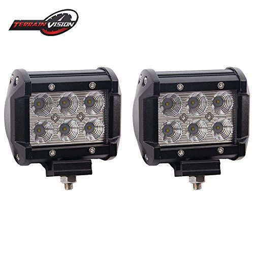 TERRAIN VISION 4In Pods Cube Led Work Lights Flood Bumper Grill Off Road Backup Reverse Fog Lights Auxiliary Headlights for Boat Tractor Emergency Light Truck Motorcycle Kawasaki Mule Jeep - Backup Maverick