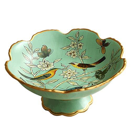 (YXYH Creative Modern Fruit Bowl Ceramics Hand Made Lace Put Fruit Candy Dining Table Fruit Dish Diameter 30CM 1.8KG (color : Black edge))