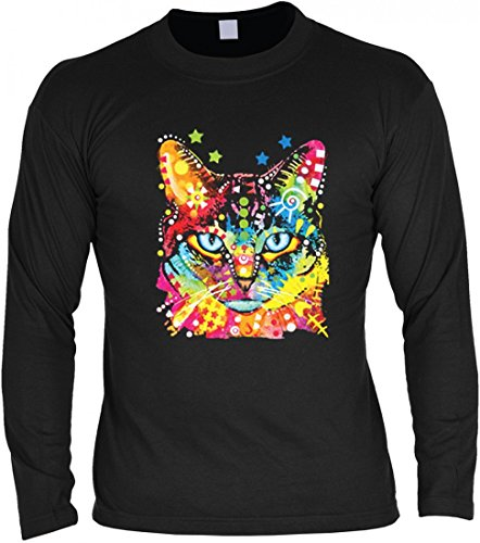 Neon Langarm-Shirt - Bunte Katze - Blaue Augen - Motivshirt als humorvolle Geschenk Idee Aufdruck für Katzenfreunde
