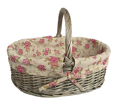 Antique Wash Oval Shopping Basket with Garden Rose Lining