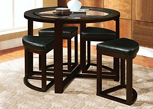 Acme 70360 Patia Espresso Finish Counter Height Dining Table Set