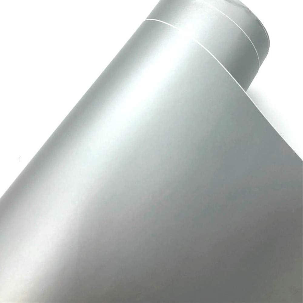 TRIXES Envoltura Adhesiva Vinilo Mate para Automóvil - 1500 x 300 mm - Plateado - para Interior Exterior - Efecto Liso