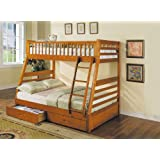 ACME 02018 Jason Twin/Full Bunk Bed Drawers, Honey Oak Finish