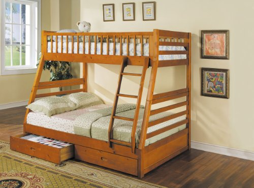 (ACME 02018 Jason Twin/Full Bunk Bed with Drawers, Honey Oak Finish)