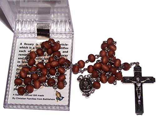 Scented Wooden Beads Rosary with Fatima Earth Enclosed in The Center and Fatima Cross