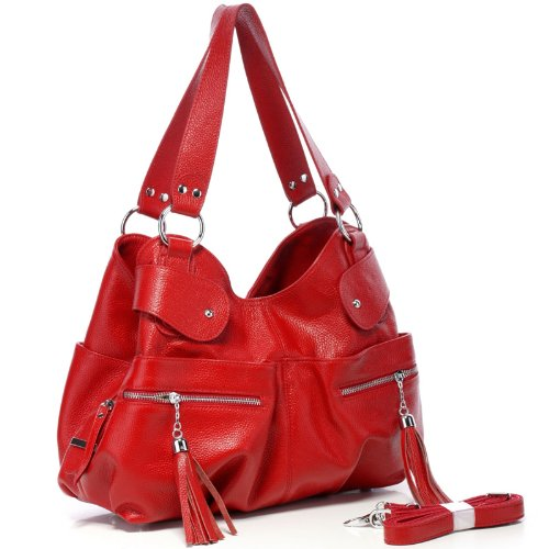 Vicenzo Athena Red Italain Leather Tote Handbag, Bags Central