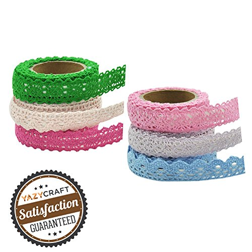 YazyCraft Lace Tape Assorted Colors 6 rolls (Adhesive Ribbon Printed)