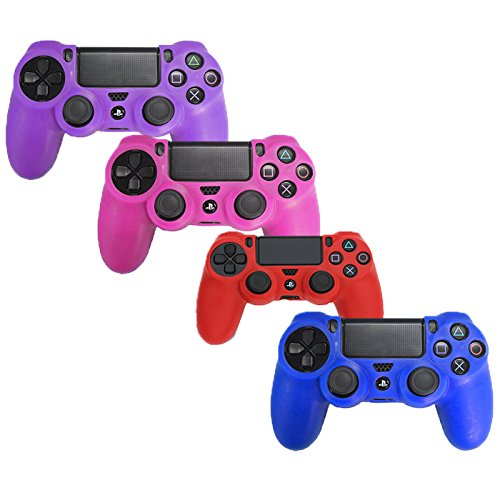 HDE PS4 Controller Skin 4 Pack Combo Silicone Rubber Protective Grip for Sony Playstation 4 Wireless Dualshock Game Controllers (Blue, Red, Purple, Pink) (Playstation 4 Controller Pink)