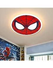 LiQi Plafón LED Moderno de 56W Lámpara de guardería Spiderman Lámpara Infantil Redonda de Dibujos Animados Lámpara de Dormitorio de diseño Creativo Pantalla de acrílico Lámpara de Techo Ø62CM