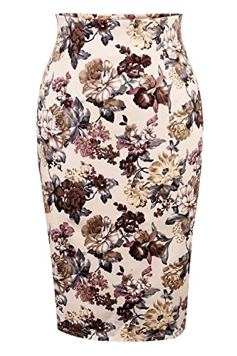 Women's High Waisted Knee Length Bodycon Slim Office Wear Pencil Cotton Mini Skirts (XXL, (Floral Cotton Mini Skirt)