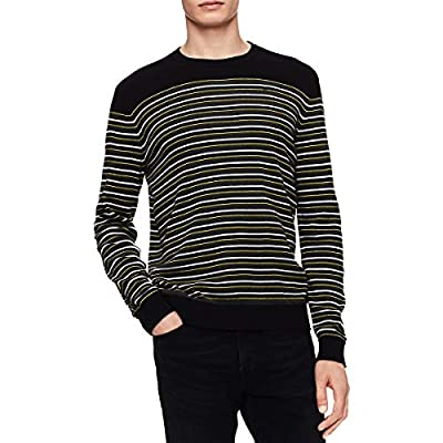 Calvin Klein Mens Big & Tall Striped Ribbed Trim Pullover Sweater