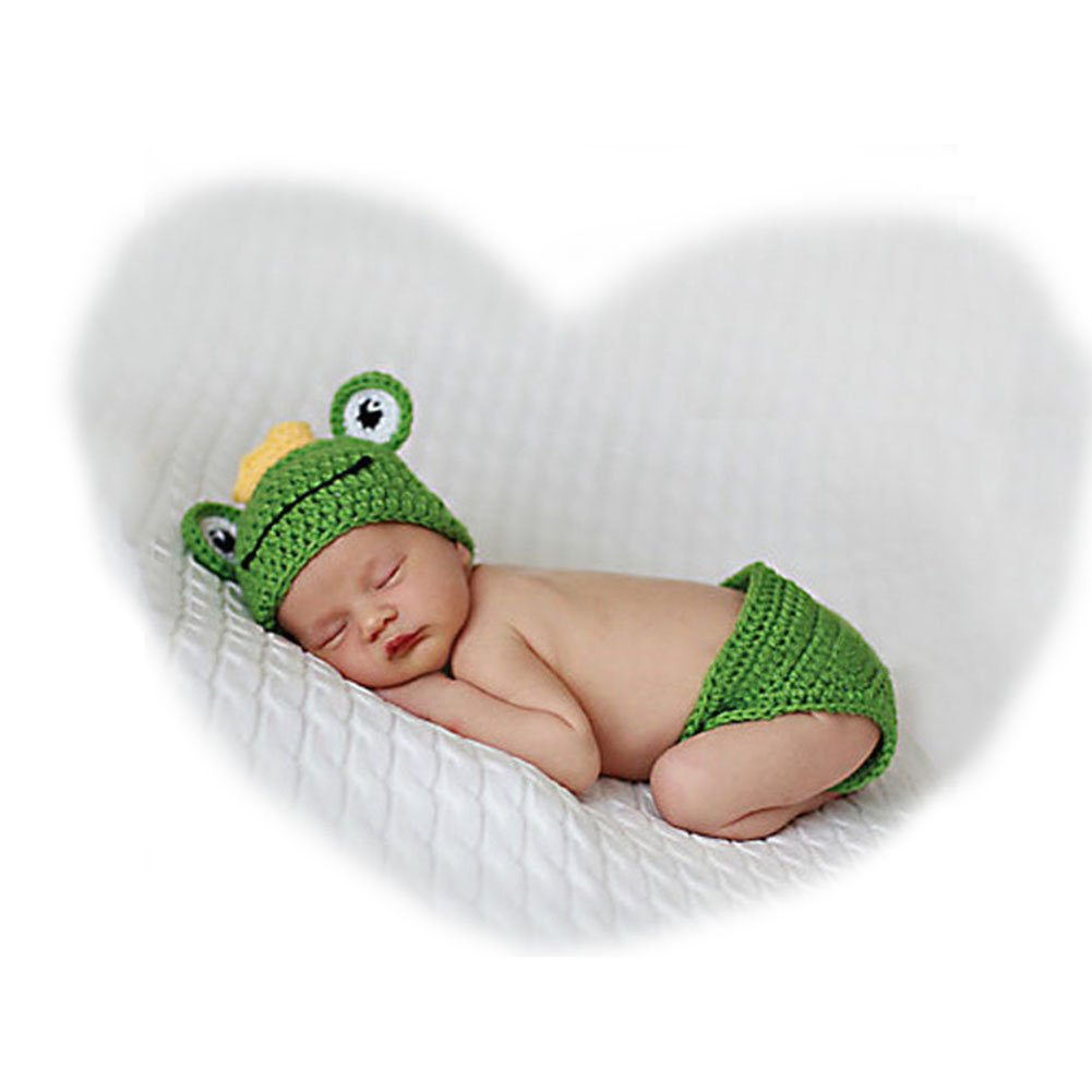 dc75ce7fffa6 Amazon.com: Newborn Infant Handmade Photo Prop Outfit Clothes Knit Crochet  Baby Photography Props Frog: Baby