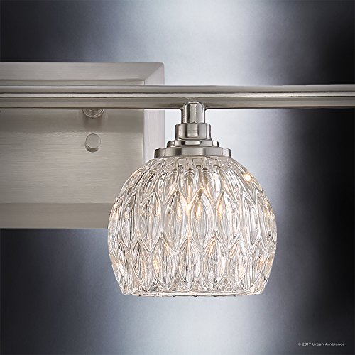 Luxury Crystal LED Bathroom Vanity Light, Large Size: 6.25''H x 28''W, with Classic Style Elements, Brushed Nickel Finish and Marquis Cut Glass Shades, G9 LED Technology, UQL2622 by Urban Ambiance by Urban Ambiance (Image #5)