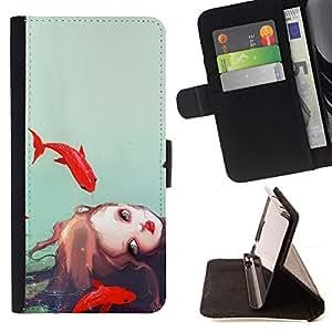 For Sony Xperia M4 Aqua Case , Chica Acuarela Mar Profundo Significado Sad- la tarjeta de Crédito Slots PU Funda de cuero Monedero caso cubierta de piel