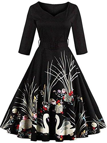 M.Brock Women's Floral Vintage Half Sleeve Dresses 1950s Rockabilly Party Gown Plus Size Swan Printed Belt (Black Swan Halloween 2017)