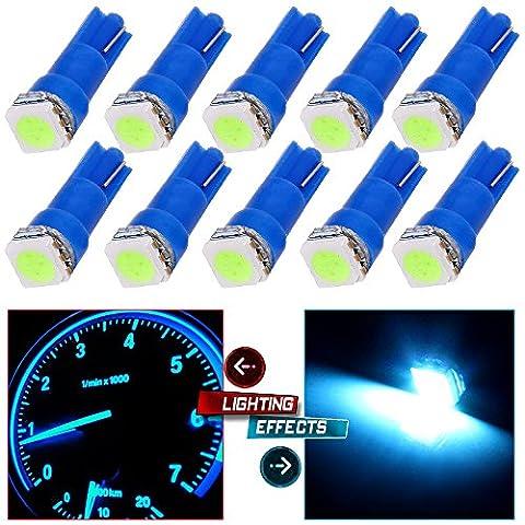 CCIYU 10 Pack T5 Ice Blue 58 70 73 74 Dashboard Gauge 5050 LED Wedge Light Bulb for Running Lights Corner Bumper lights Dashboard - 1999 Toyota Camry Bumper