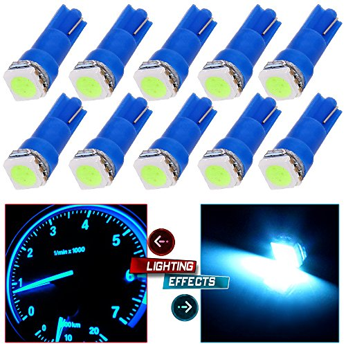 93 Honda Accord Corner (CCIYU 10 Pack T5 Ice Blue 58 70 73 74 Dashboard Gauge 5050 LED Wedge Light Bulb for Running Lights Corner Bumper lights Dashboard Lights)