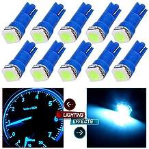 CCIYU 10 x T5 Ice Blue 58 70 73 74 Dashboard Gauge 1SMD 5050 LED Wedge Lamp Bulb Light Used For running lights, corner & bumper lights, dashboard etc