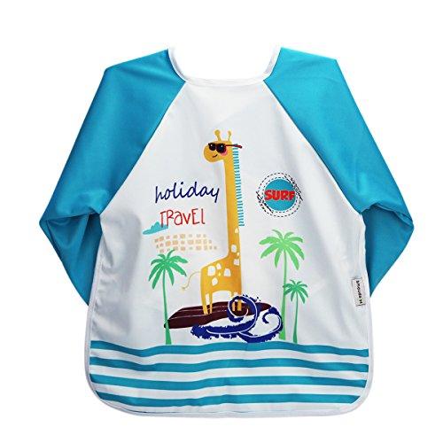 Hi Sprout Unisex Infant Toddler Baby Super Waterproof Sleeved Bib, Reusable Bib with Sleeves& Pocket, 12-24 Months,Giraffe