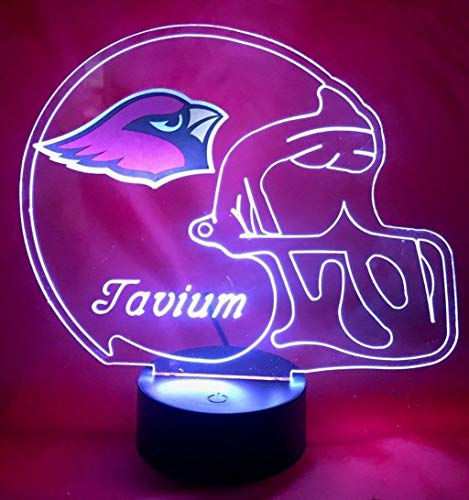 (Arizona Cardinals NFL Light Lamp Light Up Hand Crafted Football Helmet Table Lamp LED, Personalized, Our Newest Feature - It's Wow, with Remote 16 Color Options, Dimmer, Free Engraving, Great)