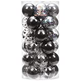Sea Team 60mm/2.36' Shatterproof Clear Plastic Christmas Ball Ornaments Decorative Xmas Balls Baubles Set with Stuffed Delicate Decorations (30 Counts, Black)