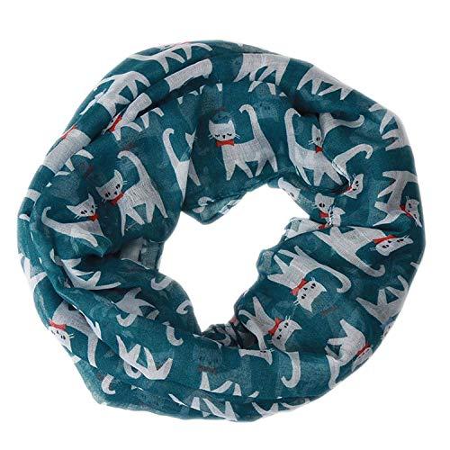 Autumn Winter Scarf Women Cotton Voile Scarves Bow Cat Printed Silk,Blue