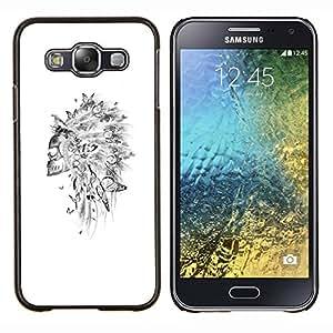 Caucho caso de Shell duro de la cubierta de accesorios de protecci¨®n BY RAYDREAMMM - Samsung Galaxy E5 E500 - Cr¨¢neo indio Sombrero Pluma Blanca