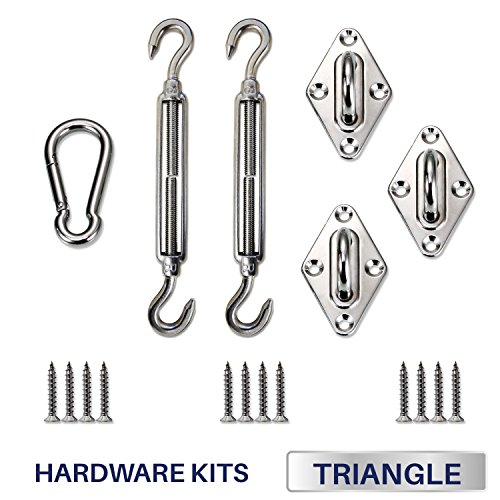 Windscreen4less Sun Shade Sail Hardware Kit - 8 Inches - Super Heavy Duty - For Triangle Sun Shade Sail