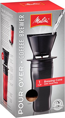 Melitta Coffee Maker, Single Cup Pour-Over Brewer with Travel Mug, Black (Pack of 2) by Melitta (Image #2)