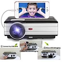 2017 LCD Smartphone Projector- 3500 Lumen 1080P HD Support LED Home Cinema Theater Video Projector-Design for Mobile Phone Screen Mirror iPad Projector with Speakers,Keystone Free HDMI Cable