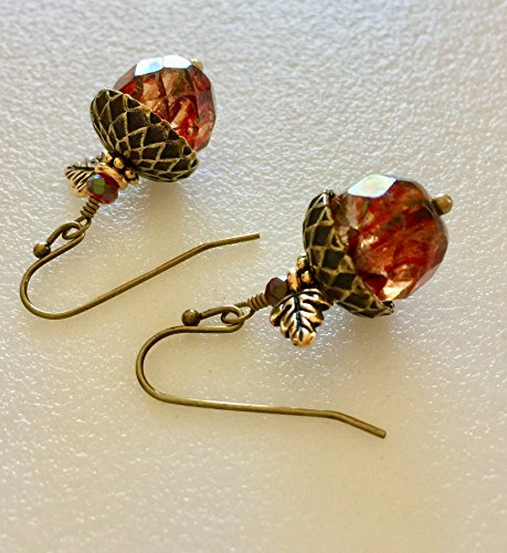 Acorn Earrings, Amber Sunset Picasso Czech Glass,