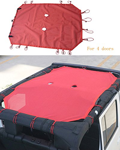 Red Eclipse Sunshade UV Protection Mesh Sun Shade Top Cover for 4 doors Jeep Wrangler JK & Unlimited 2007-2017
