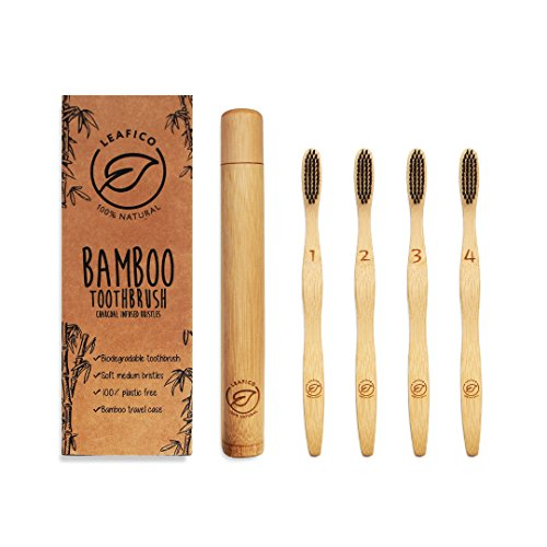 Bamboo Toothbrush with Travel Case | Natural Biodegradable | Eco-Friendly & Vegan | Charcoal Infused BPA-Free Soft Bristles | Dental Care for Men, Women & Kids | 4-Pack | Zero Waste Gift by Leafico by Leafico