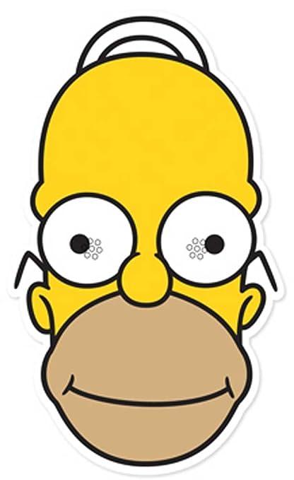 empireposter The Simpsons Homer – Máscara Máscara de Cartón (Efecto Satinado, Agujeros en los