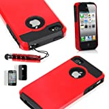 iphone 5 case red and black - TCD for Apple iPhone 5 5S [RED ON BLACK] Hybrid Rugged Protective Defender Series Combo Case Cover Multiple Layers Shock Ultimate Protection [FREE SCREEN PROTECTOR STYLUS PEN]