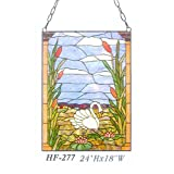 HF-277 Tiffany Style Stained Glass Swan Rectangle Window Hanging Glass Panel Sun Catcher, 24''Hx18''W
