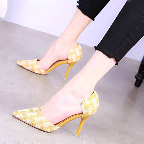 The 9 New Girl Fine KPHY Pinyin Heeled Single High Shoes Tips Tide Spring Hollow With Shoes Yellow 5Cm The Shoes qwzECPFw8