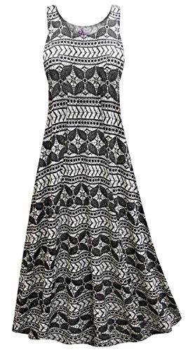 Sanctuarie Designs Black & White Abstract Print Plus Size Poly/Cotton Princess Tank Dress (Abstract Print Jersey Dress)