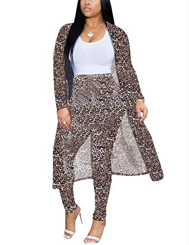 Akmipoem Womens 2 Piece Pants Set - Long Sleeve Open Front Cardigans and Skinny Pants Suit Outfits