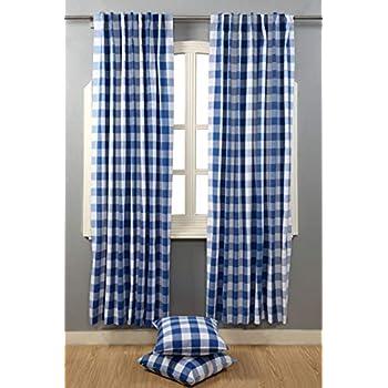 Amazon Com Farmhouse Curtain In Gingham Plaid Check